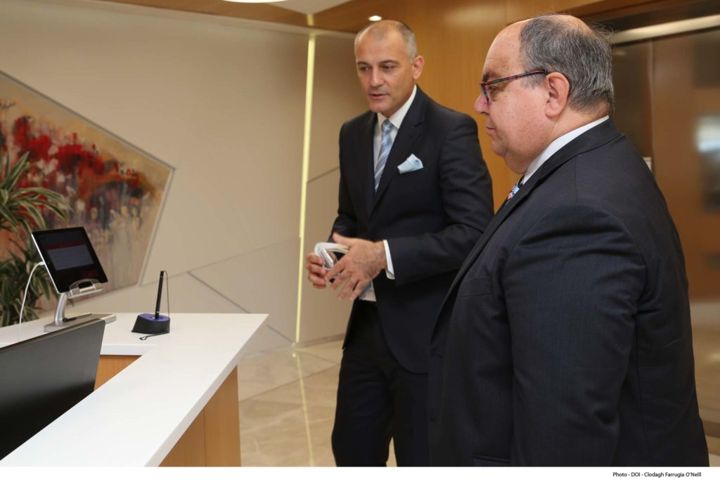 Minister for Competitiveness and Digital, Maritime and Services Economy Emmanuel Mallia visits Malta Gaming Authority Offices.
